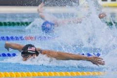 SWM: Campeonato de los Aquatics del mundo - final para hombre del relevo de 4 del x 100m Fotografía de archivo