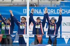 SWM: Campeonato de los Aquatics del mundo - final para hombre del relevo de 4 del x 100m Foto de archivo