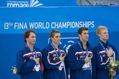 SWM: Campeonato de los Aquatics del mundo - final para hombre del relevo de 4 del x 100m Imagen de archivo