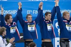 SWM: Campeonato de los Aquatics del mundo - final para hombre del relevo de 4 del x 100m Fotos de archivo libres de regalías