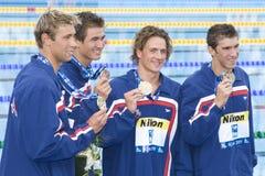 SWM : Championnat d'Aquatics du monde - fina de style libre de 4 x de 100m des hommes Images libres de droits