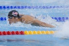 SWM : Championnat d'Aquatics du monde - finale de mélange de 4 x de 100m des hommes Photo stock