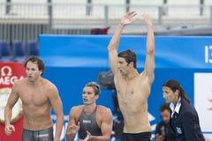 SWM : Championnat d'Aquatics du monde - finale de mélange de 4 x de 100m des hommes Photos libres de droits
