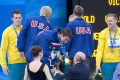 SWM : Championnat d'Aquatics du monde - finale de mélange de 4 x de 100m des hommes Photographie stock libre de droits