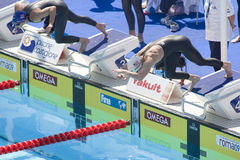 SWM : Championnat d'Aquatics du monde - style libre de l'équipe de femmes 200m Images libres de droits