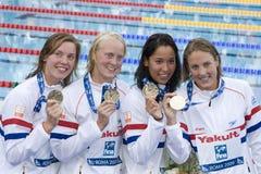 SWM : Championnat d'Aquatics du monde - style libre fi de 4 x de 100m des femmes Image stock