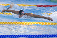 SWM: Het Kampioenschap van wereldaquatics - de vlinderdef. van Mensen 200m Stock Foto's