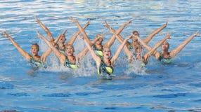 SWM: Het team van de vrouwen van het wereldkampioenschap sychronised het zwemmen Stock Afbeeldingen
