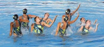 SWM : Natation sychronised de l'équipe de femmes de championnat du monde Image stock