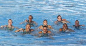 SWM : Natation sychronised de l'équipe de femmes de championnat du monde Photo stock