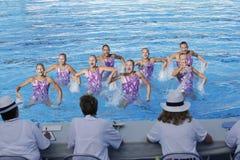 SWM : Natation sychronised de l'équipe de femmes de championnat du monde Images libres de droits
