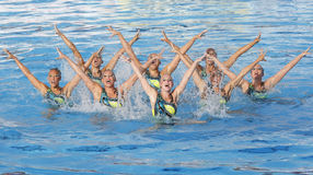 SWM: Nuoto sychronised del gruppo delle donne di campionato del mondo Immagini Stock