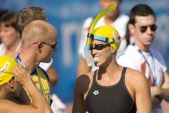 SWM: VärldsAquaticsmästerskap - kvinnors 100m fjäril halv fi Fotografering för Bildbyråer