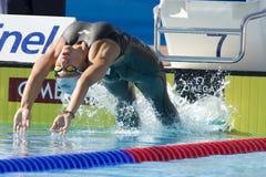 SWM: VärldsAquaticsmästerskap - kvinnors 100m ryggsim Royaltyfria Foton