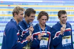 SWM: VärldsAquaticsmästerskap - mäns fina för 4- x 100m fristil Arkivfoton