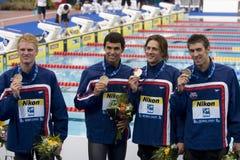 SWM: VärldsAquaticsmästerskap - mäns final för 4- x 200m fristil Arkivfoto