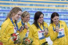 SWM: Weltaquatics-Meisterschaft - 4 x das 100m der Frauen Freistil-FI Lizenzfreies Stockfoto