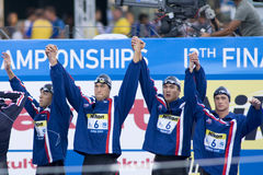 SWM: Weltaquatics-Meisterschaft - 4 x das 100m der Männer Freistil fina Lizenzfreie Stockbilder