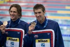 SWM: Weltaquatics-Meisterschaft - 4 x die 200m der Männer Freistilschluß Lizenzfreies Stockbild