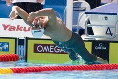SWM: Weltaquatics-Meisterschaft - Rückenschwimmen das 100m der Männer Stockfotografie