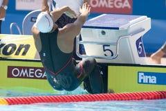 SWM: Weltaquatics-Meisterschaft - Rückenschwimmen das 100m der Männer Lizenzfreies Stockbild