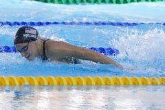 SWM: Weltaquatics-Meisterschaft - Schmetterlingsschluß das 100m der Frauen Stockfotografie