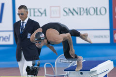 SWM: Weltaquatics-Meisterschaft - Schmetterlingsschluß das 100m der Männer Lizenzfreies Stockbild