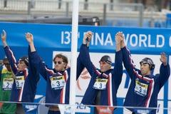 SWM: Weltaquatics-Meisterschaft - 4 x das 100m der Männer Gemischschluß Lizenzfreie Stockfotos