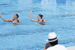 SWM: Wereld Aquatische Kampioenschappen - het Gesynchroniseerde zwemmen Royalty-vrije Stock Afbeeldingen