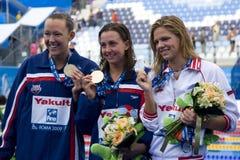 SWM: World Aquatics Championship - Womens 100m breaststroke fina. Jul 28 2009; Rome Italy; Kasey Carlson (USA) bronze medal winner, left Rebecca Soni (USA) gold Stock Photos