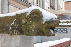swnow包括的历史扶手栏杆在格但斯克老镇在波兰 免版税库存图片