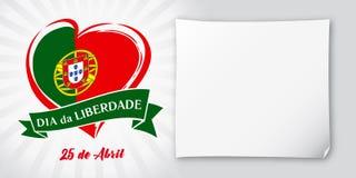 Swoboda dzień Portugalia barwił, kierowy emblemat w flaga państowowa Zdjęcie Stock