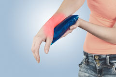 Swollen hurting wrist. Royalty Free Stock Image