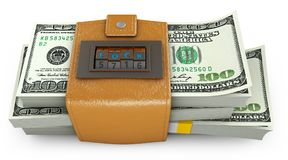 Swollen purse and combination lock. Swollen purse in the form of a combination lock, which has a pack of dollars. 3d rendering Stock Image