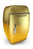 Swollen retro a refrigerator. Golden color on a white background Stock Image