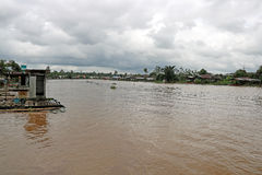 Swollen River in Monsoon Season Sarawak Borneo Stock Photos