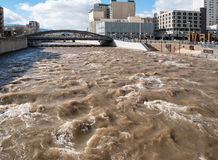Swollen Truckee River in downtown Reno, Nevada Royalty Free Stock Photo