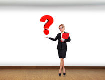 Swoman holding question Royalty Free Stock Images