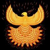 Swooping пламенистый Феникс иллюстрация вектора