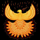 Swooping fiery phoenix. Vector illustration fiery phoenix. Fly phoenix flaming Royalty Free Stock Images