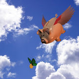 Swooping Piggy Bank Stock Photography