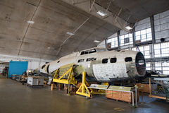The Swoose in Restoration Hanger. Dayton, Ohio, USA - November 18, 2016: National Museum USAF is restoring WWII The Swoose B-17D Flying Fortress bomber, the only stock photo