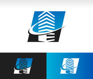 Swoosh现代大厦商标象 免版税库存图片