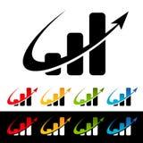Swoosh Bar Chart Icons Stock Image