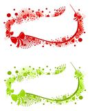 Swoosh Christmas Logos Labels. A clip art illustration of your choice of 2 decorative Christmas logos or banners featuring swoosh shapes, snowflake and Royalty Free Stock Photography