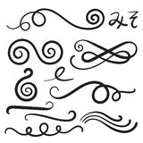 Swoosh Curls Swash Swish with Scribbles and Squiggle Swooshes, S. Washes & Swishes royalty free illustration