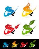 Swoosh Dollar Icons. Vector set of various swoosh dollar icons Stock Image