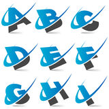 swoosh för alfabet set1 stock illustrationer