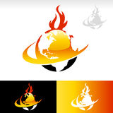 Swoosh Fire Earth Icon. Vector design of planet earth icon on fire Stock Photography