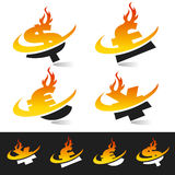 Swoosh Flame Currency Symbols. Set of flame swoosh currency symbols Royalty Free Stock Photos